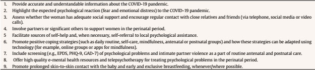 Good Practices in Perinatal Mental Health during the COVID-19 Pandemic: A Report from Task-Force RISEUP-PPD COVID-19